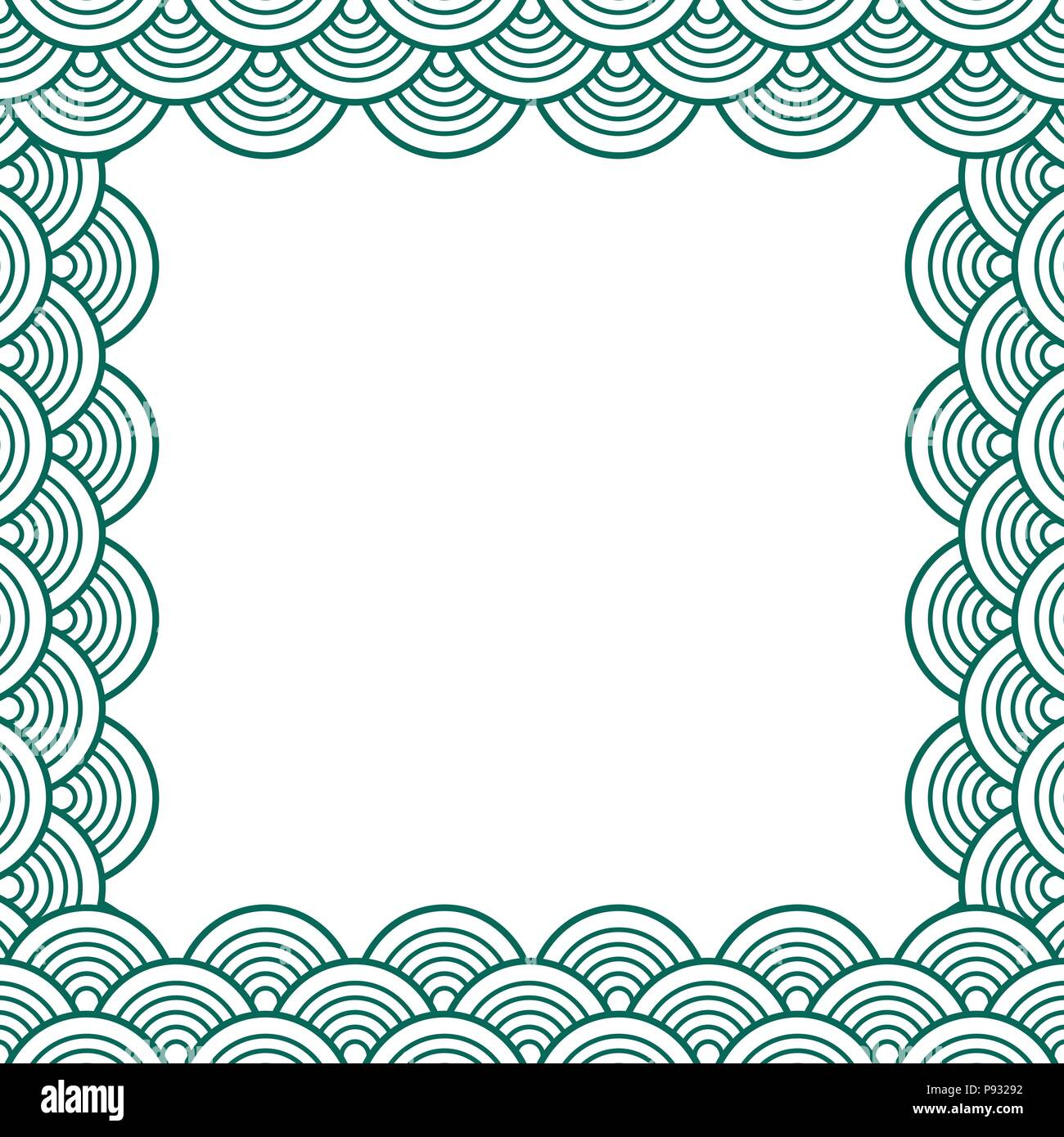 White Green Traditional Wave Japanese Chinese Seigaiha Border