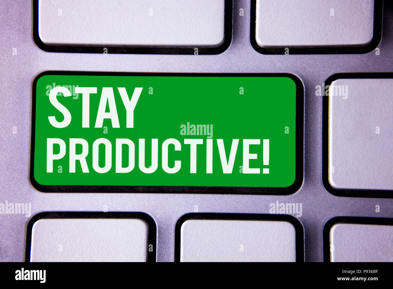 Handwriting text writing Stay Productive Motivational Call. Concept meaning Efficiency Concentration Productivity White Text two words green tab key b - Stock Image