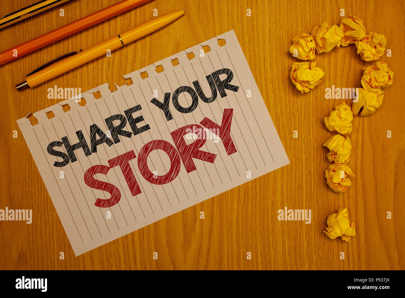Conceptual hand writing showing Share Your Story. Business photo text Experience Storytelling Nostalgia Thoughts Memory Personal Words written Note De - Stock Image