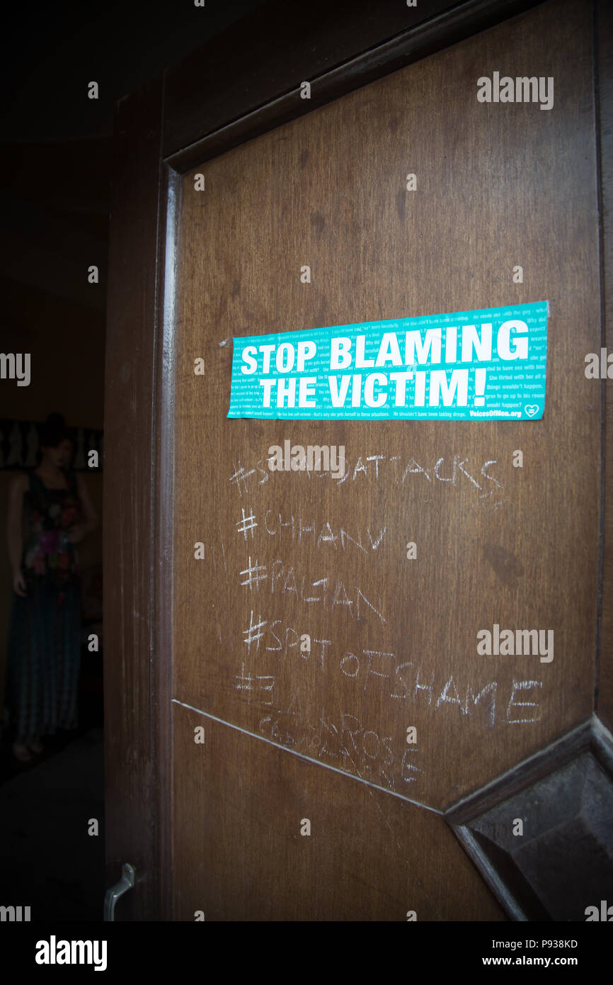 Door of Chhanv, the office of the Stop Acid Attacks campaign in Delhi, India - Stock Image