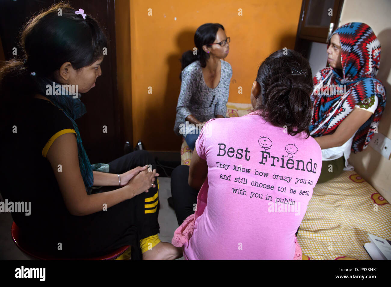 Meeting of the girls of the Stop Acid Attacks campaign in Delhi, India - Stock Image