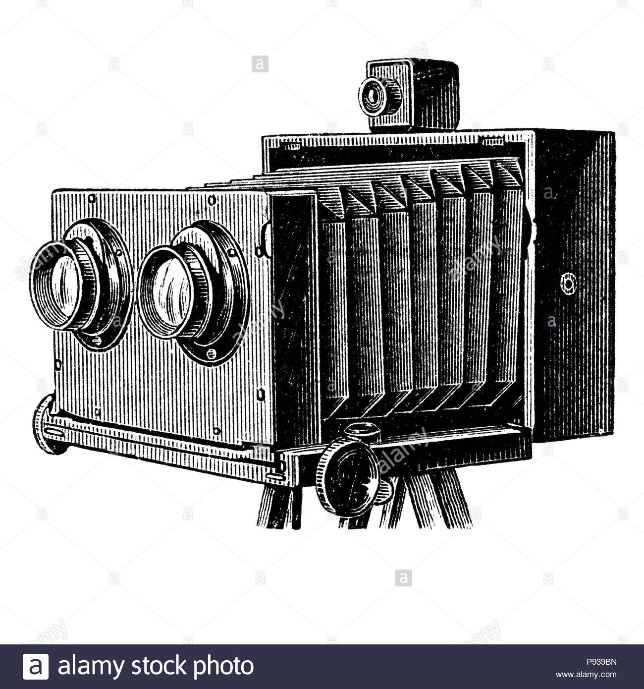 Wooden stereoscopic camera also known as stereo camera. Photographic camera illustration published in Brockhaus Konversations Lexicon 14 edition - Stock Image