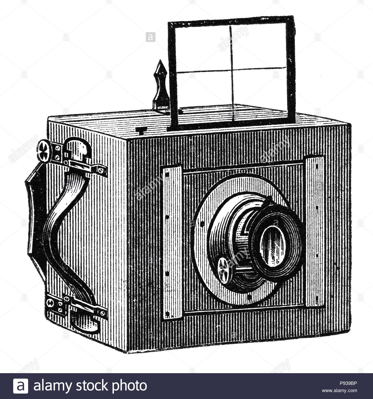 Wooden photographic camera with viewfinder for personal use. Photographic camera illustration published in Brockhaus Konversations Lexicon 14 edition - Stock Image