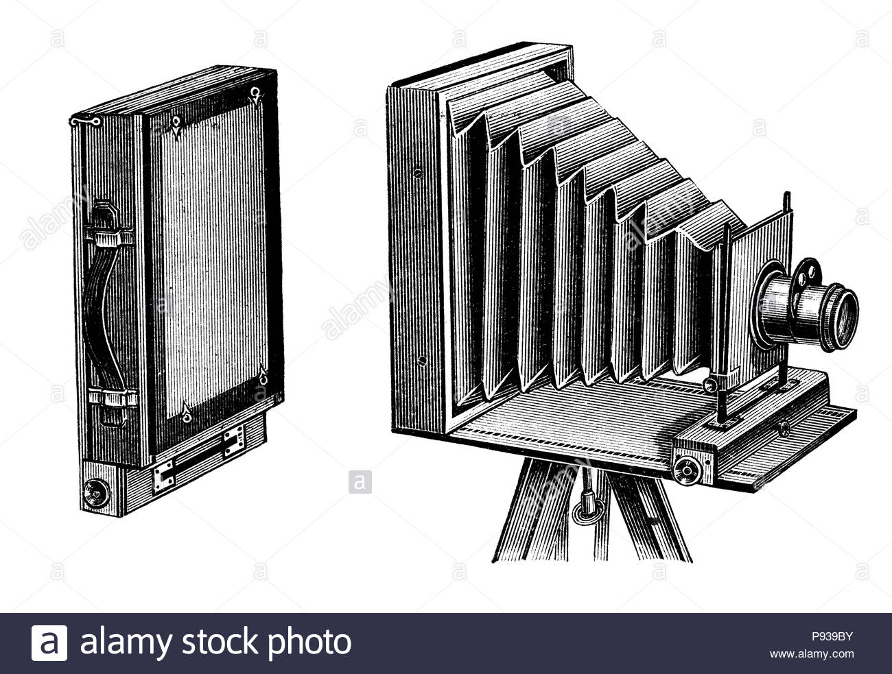 Vintage wooden travel photographic camera. Folding camera illustration published in Brockhaus Konversations Lexicon 14 edition - Stock Image