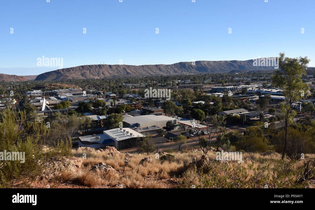 View from ANZAC Hill Alice Springs Northern Territory Australia. Views over the town and surrounds including Heavitree Gap and the MacDonnell Ranges. - Stock Image