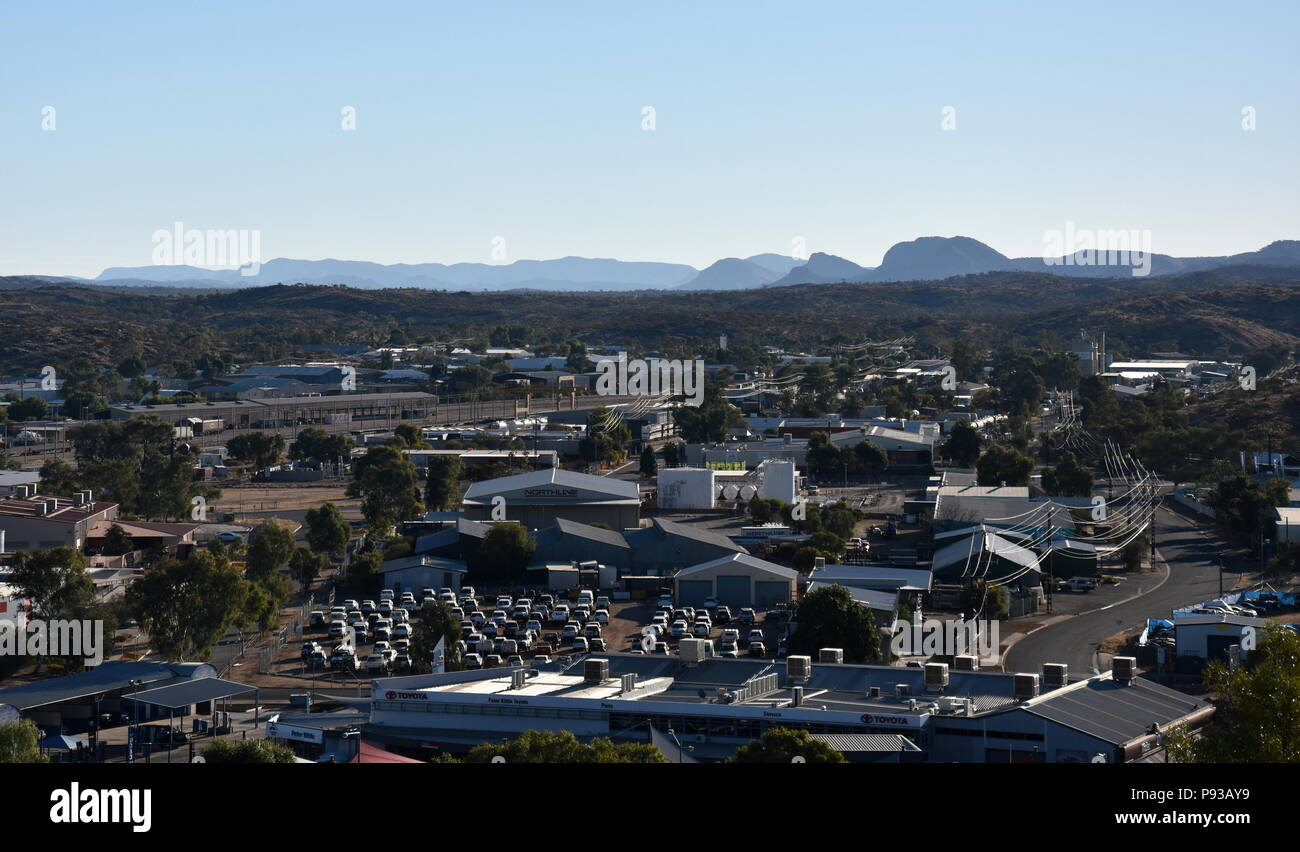 Alice Springs, Australia - Jun 9, 2018. View from ANZAC Hill Alice Springs Northern Territory Australia. Views over the town and surrounds including H - Stock Image