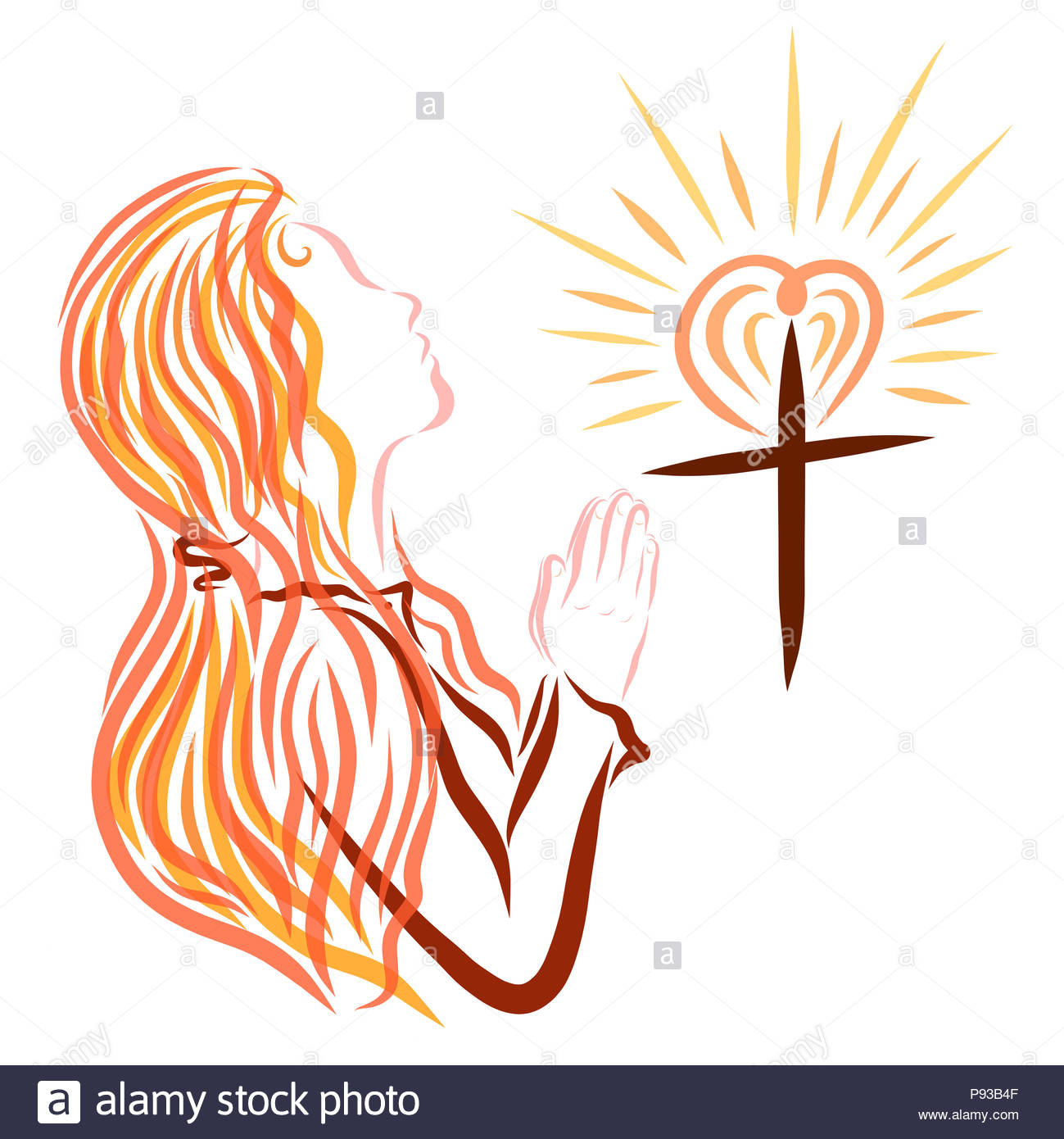 a shining cross with a heart and a praying woman with a headscarf on