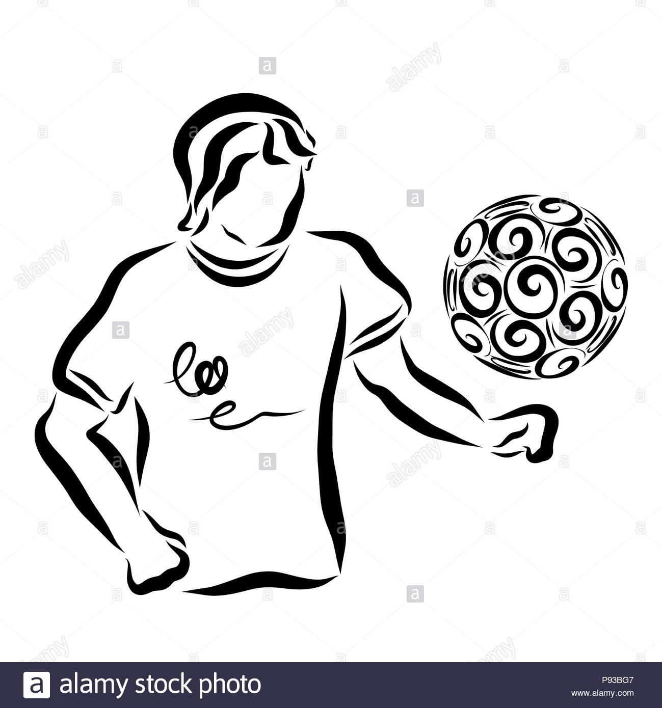 A man in a shirt and a flying ball - Stock Image
