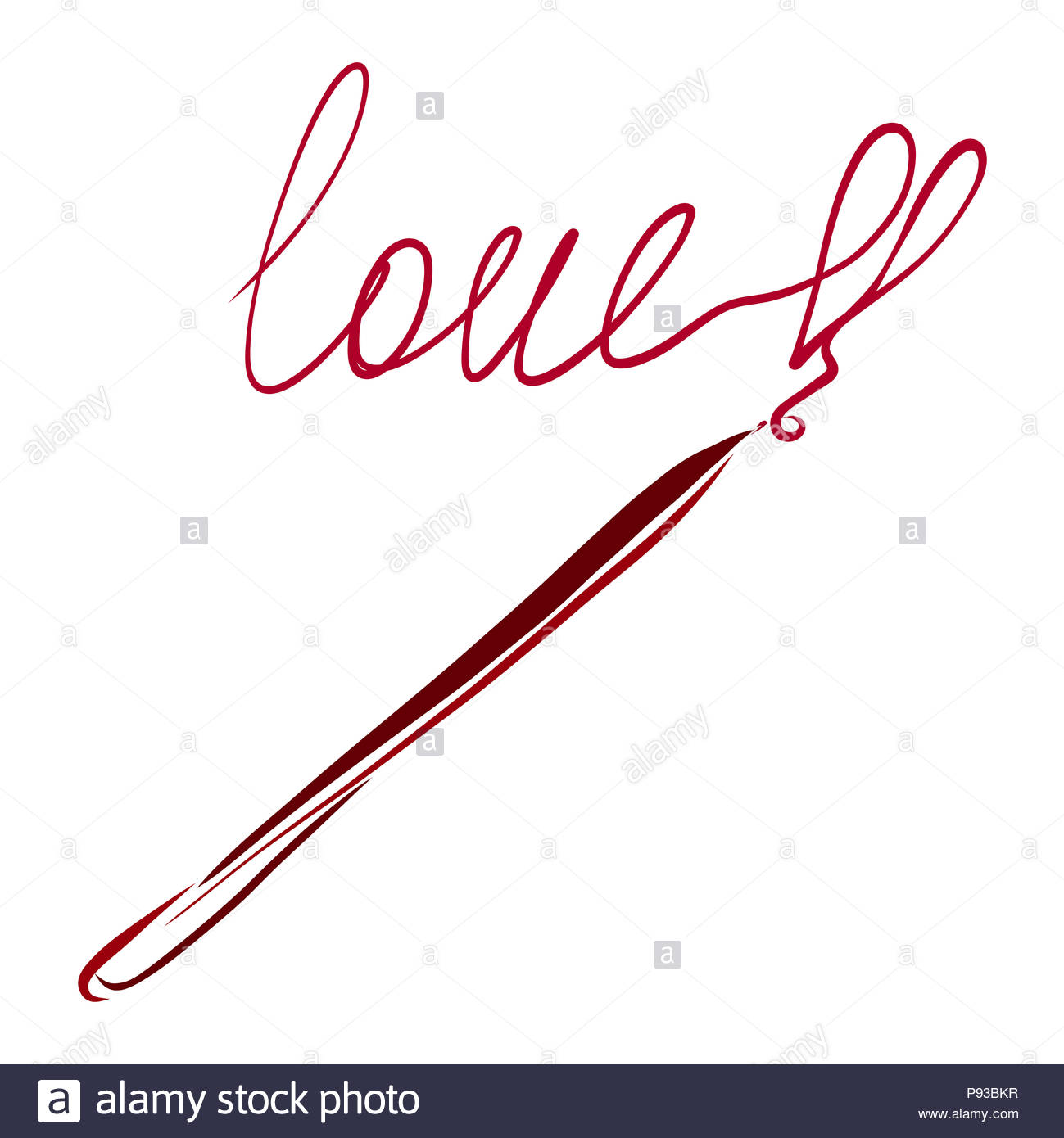 the word love an exclamation mark in the shape of a heart and a pencil