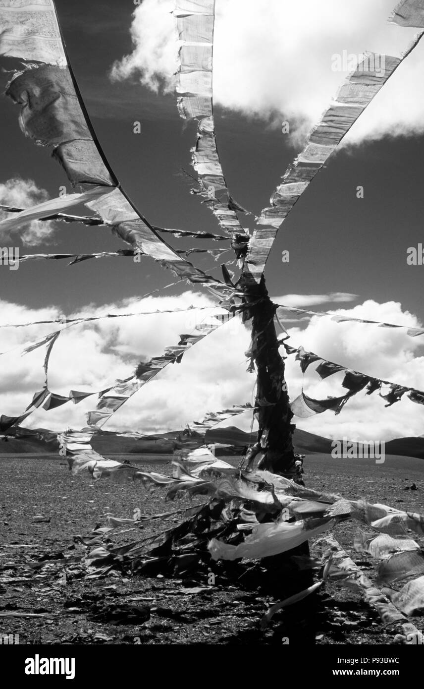 PRAYER FLAGS fly atop the LALUNG LA (PASS) at over 17,000 feet in elevation along the FRIENDSHIP HIGHWAY - TIBET - Stock Image
