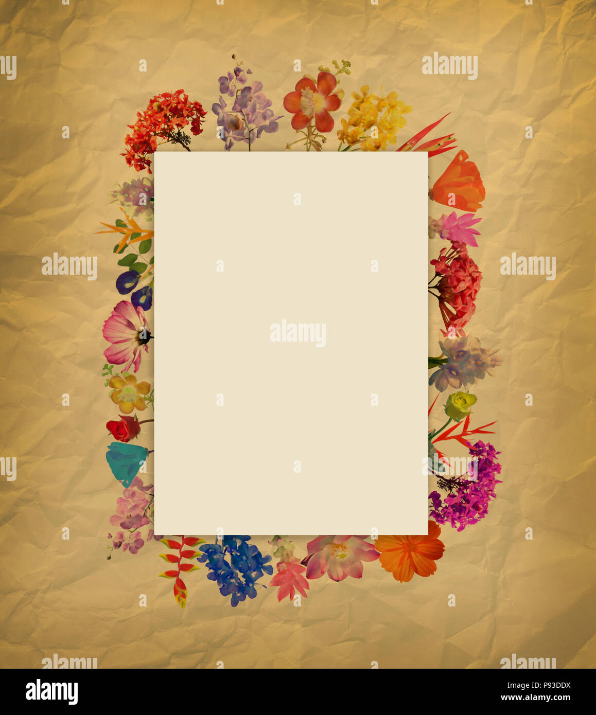 Arrangement Watercolor Flower Frame On Brown Paper Background Stock