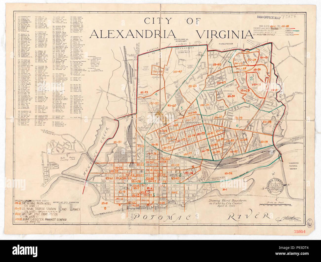 1950 Census Enumeration District Maps - Virginia (VA) - Alexandria City - Stock Image