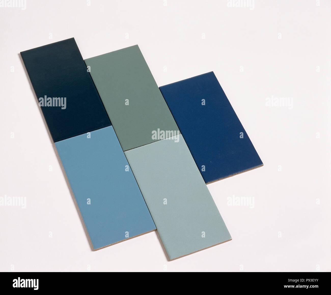 Close Up Of Dark Blue And Green Rectangular Ceramic Tiles Stock
