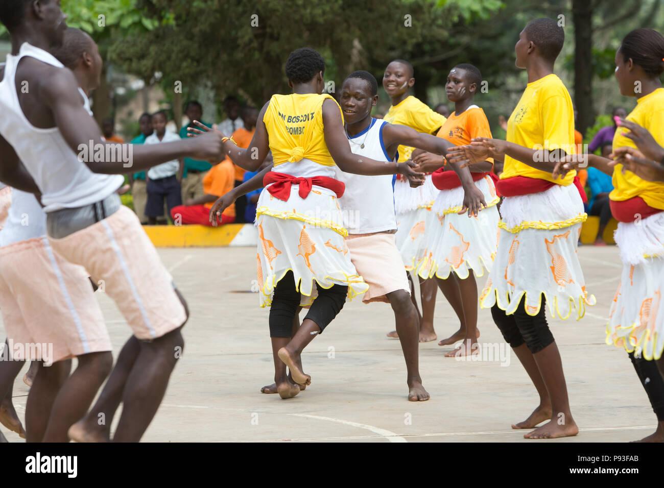 Bombo, Uganda - Students of the Don Bosco Vocational Training Center Bombo perform a dance. - Stock Image