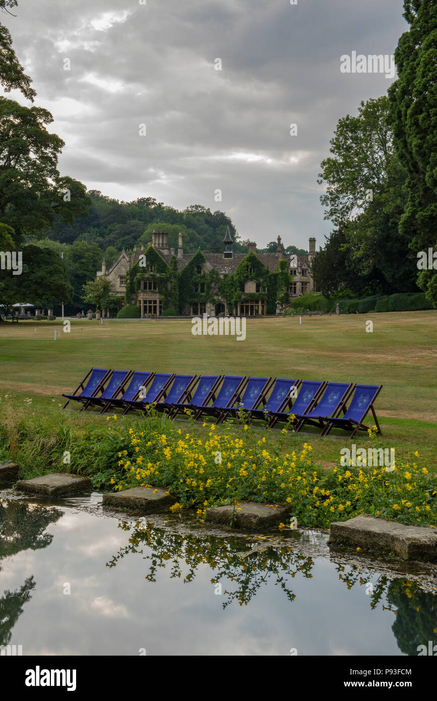 The Manor House Hotel, Castle Combe, Wiltshire, England Beautifully situated country house hotel, nestled alongside the Cotswold village of Castle Com - Stock Image