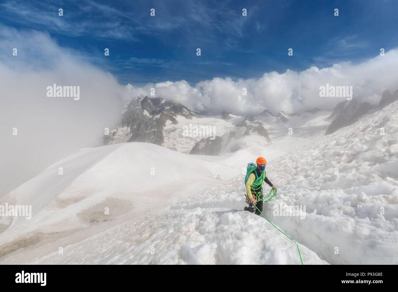 MOUNTAINEERING IN THE HAUTE-SAVOIE (74), AUVERGNE RHONE ALPES, FRANCE Stock Photo