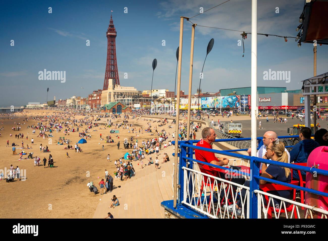 UK, England, Lancashire, Blackpool, beach from South Pier - Stock Image