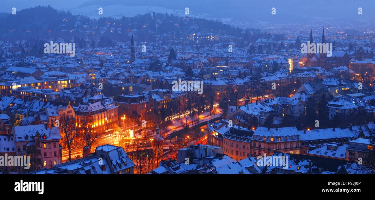 Winter evening in Freiburg Stock Photo