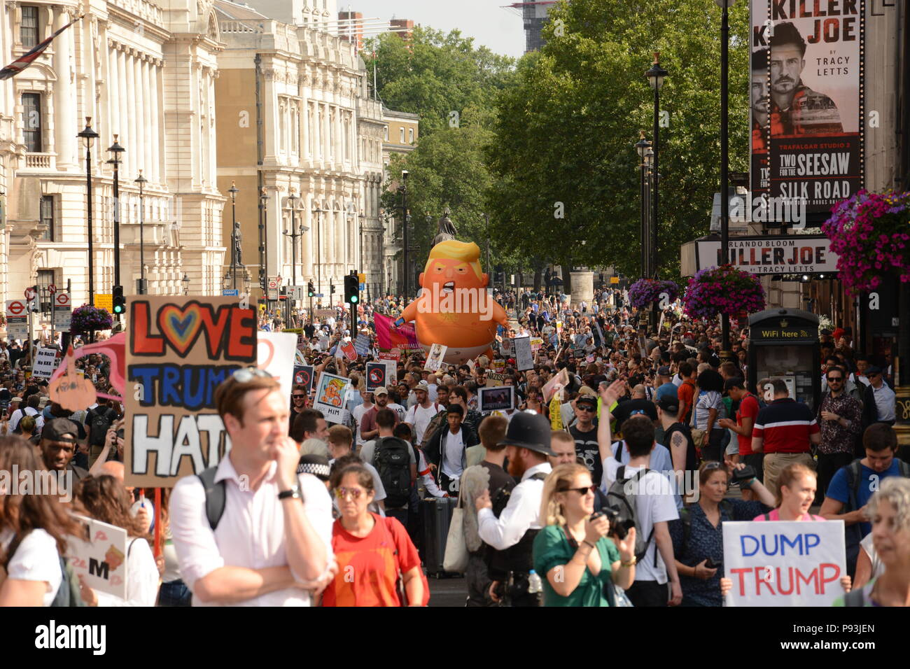 Anti-Trump March in Central London 13th July 2018 - Stock Image