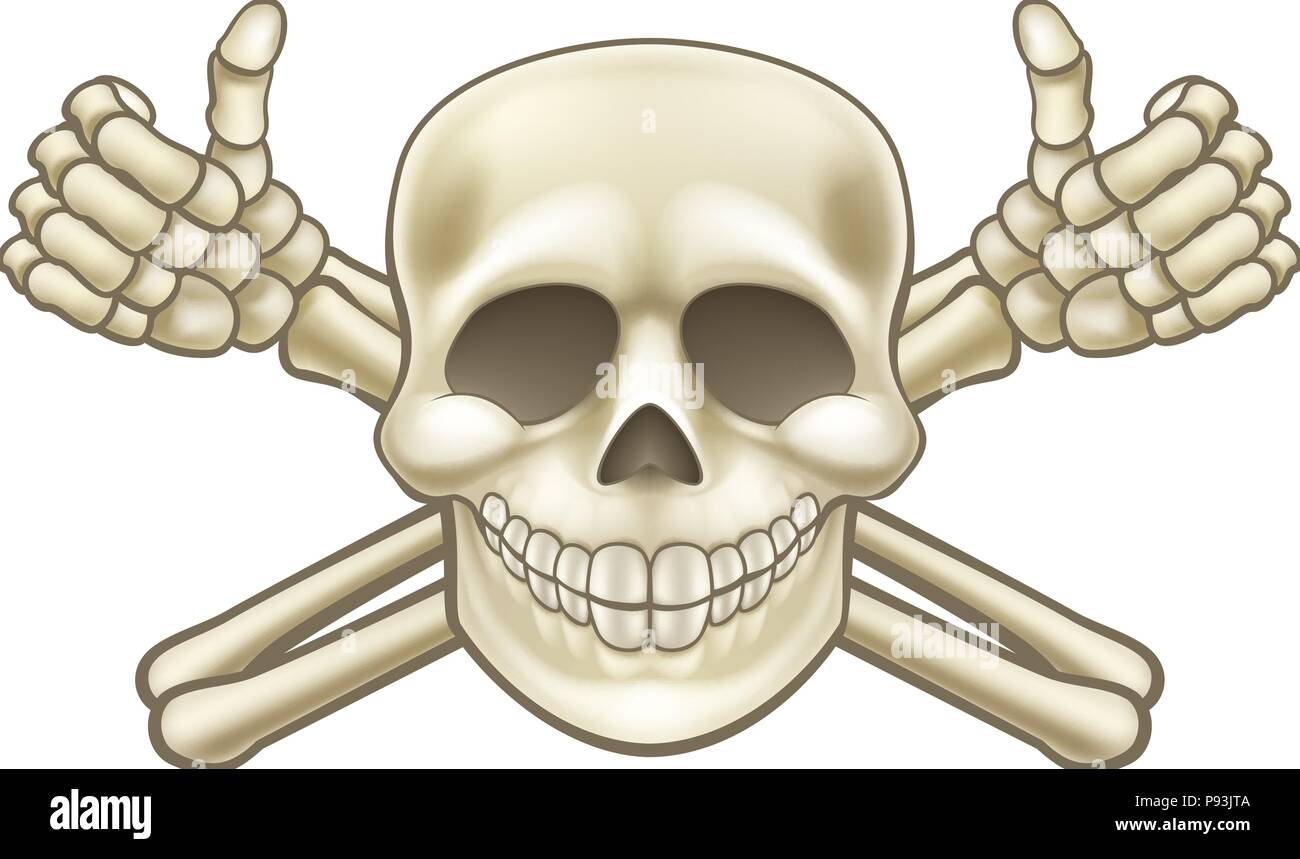 Cartoon Thumbs Up Pirate Skull and Crossbones Stock Vector
