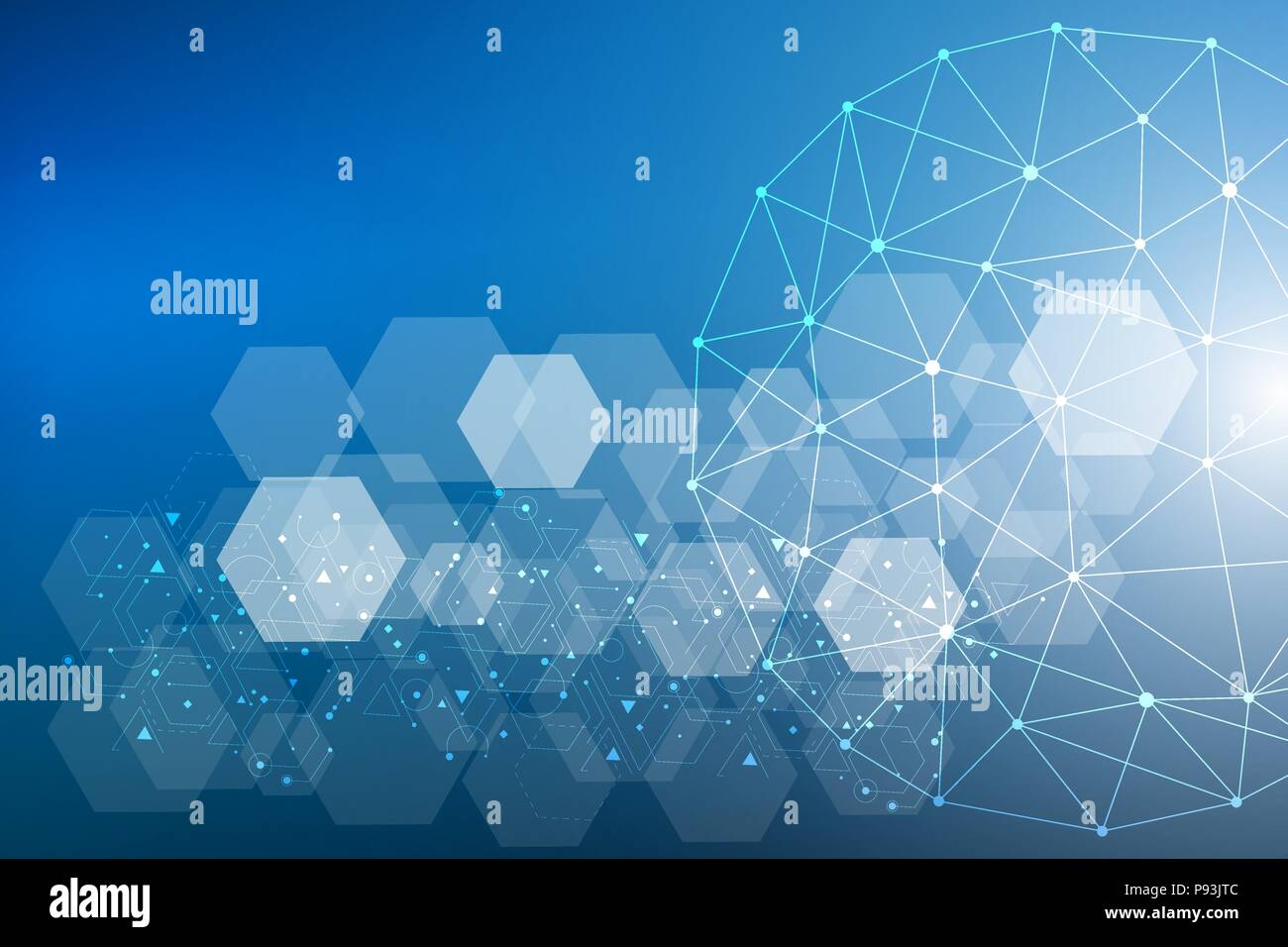 Big Data Visualization Background. Modern futuristic virtual abstract background. Science network pattern, connecting lines and dots. Global network connection vector. - Stock Image