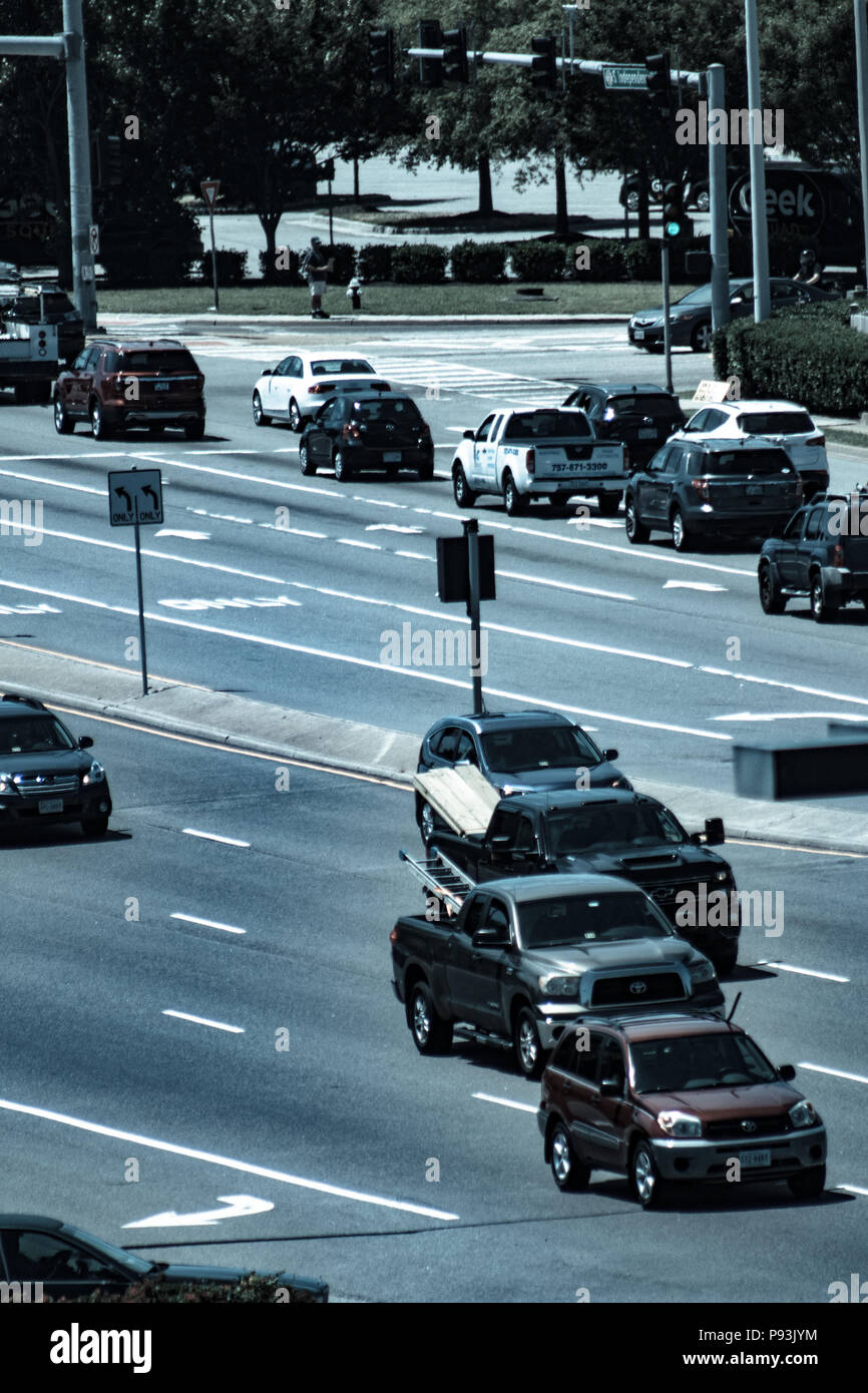 Bird's eye view of cars on the highway - Stock Image
