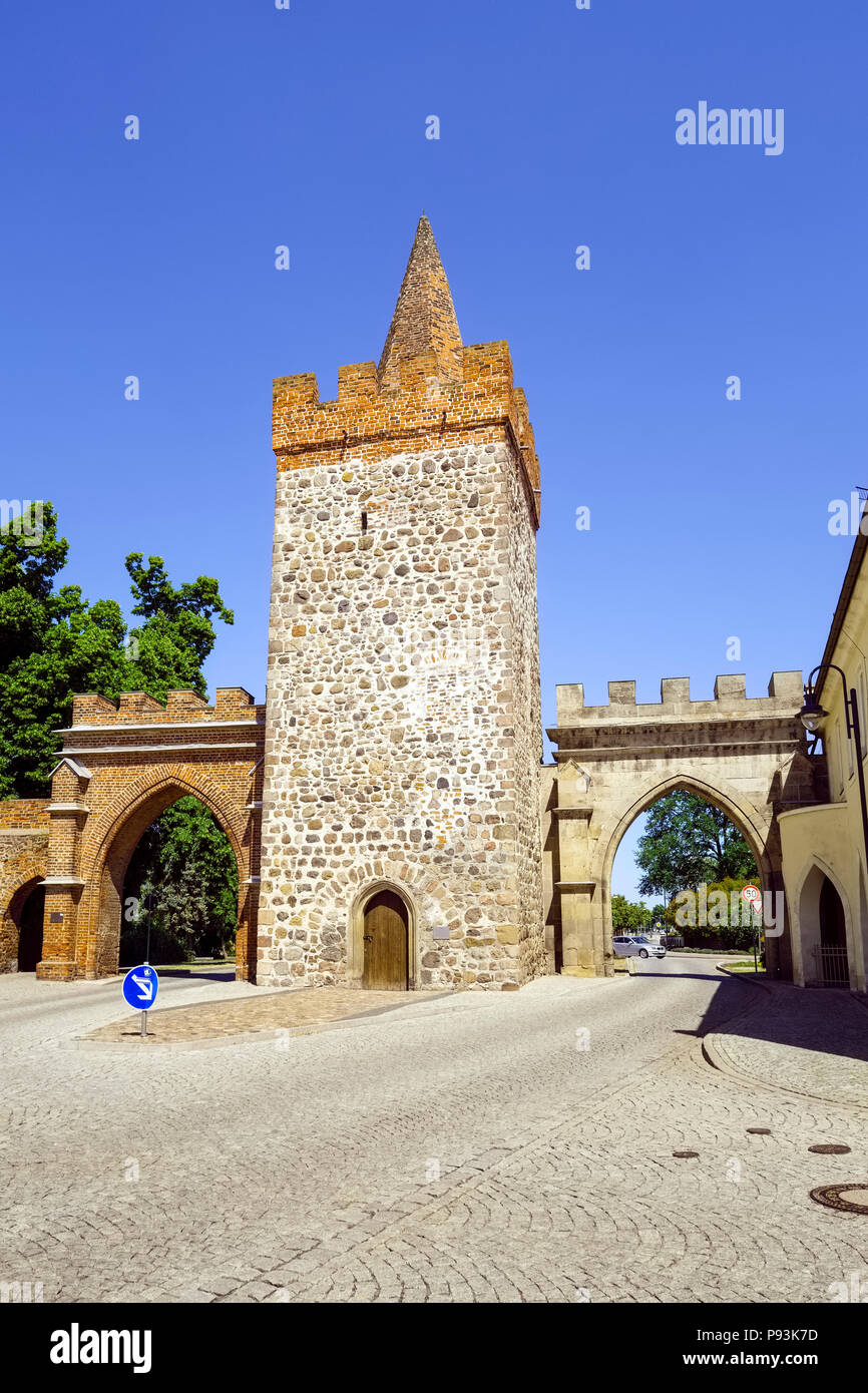 Heidetor Gate, Zerbst/Anhalt, Saxony-Anhalt, Germany Stock Photo