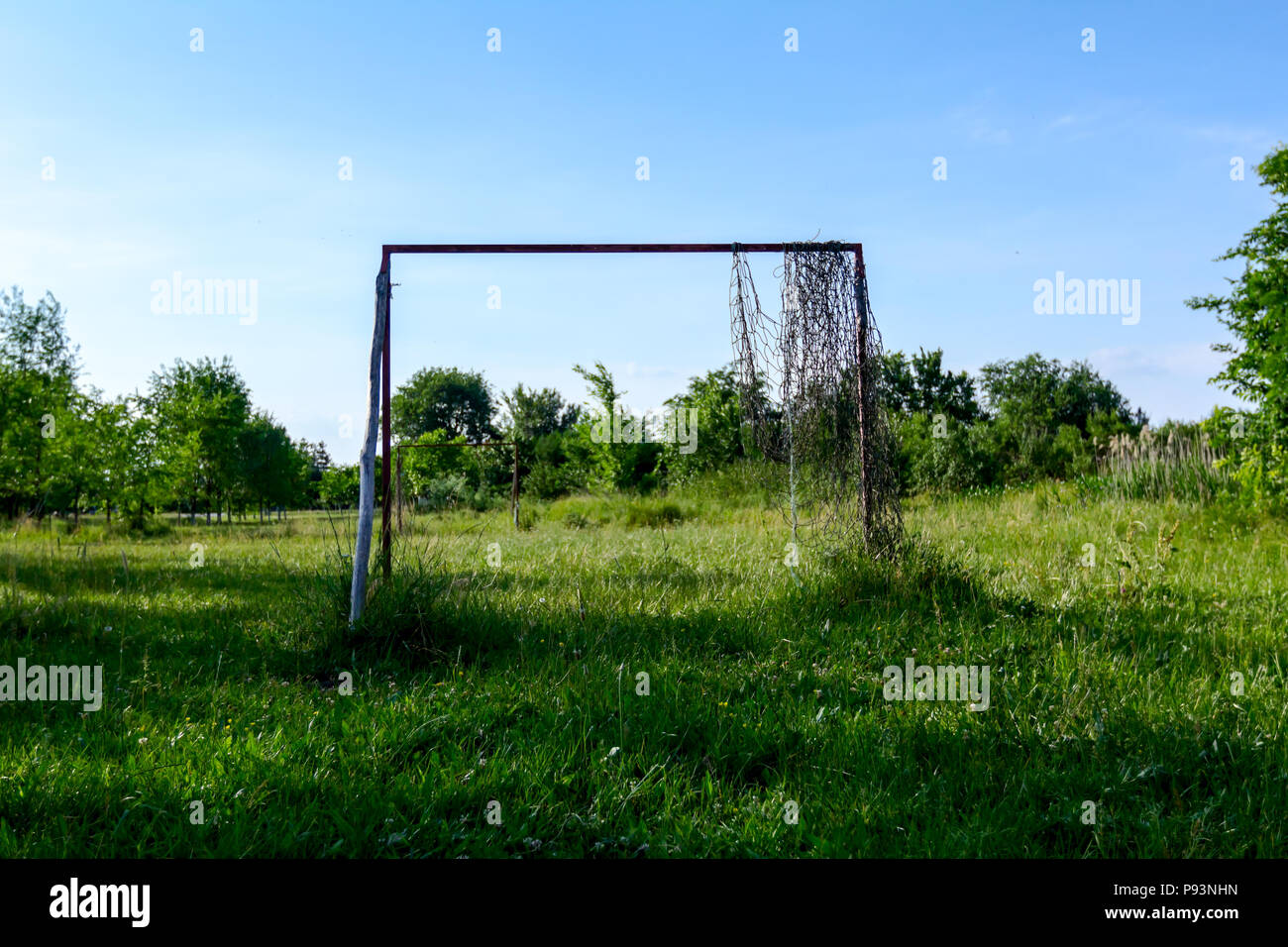 Lonely goal in neglected and overgrown soccer court among grass vegetation. - Stock Image