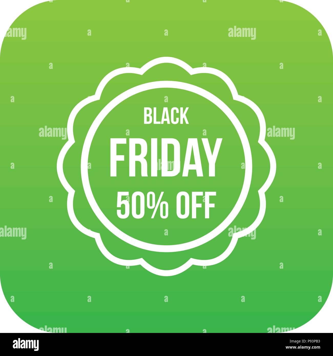Sale sticker 50 percent off icon digital green Stock Vector