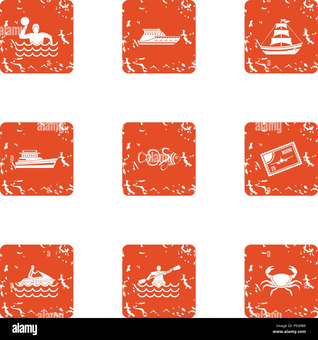 Water spectacle icons set, grunge style - Stock Vector