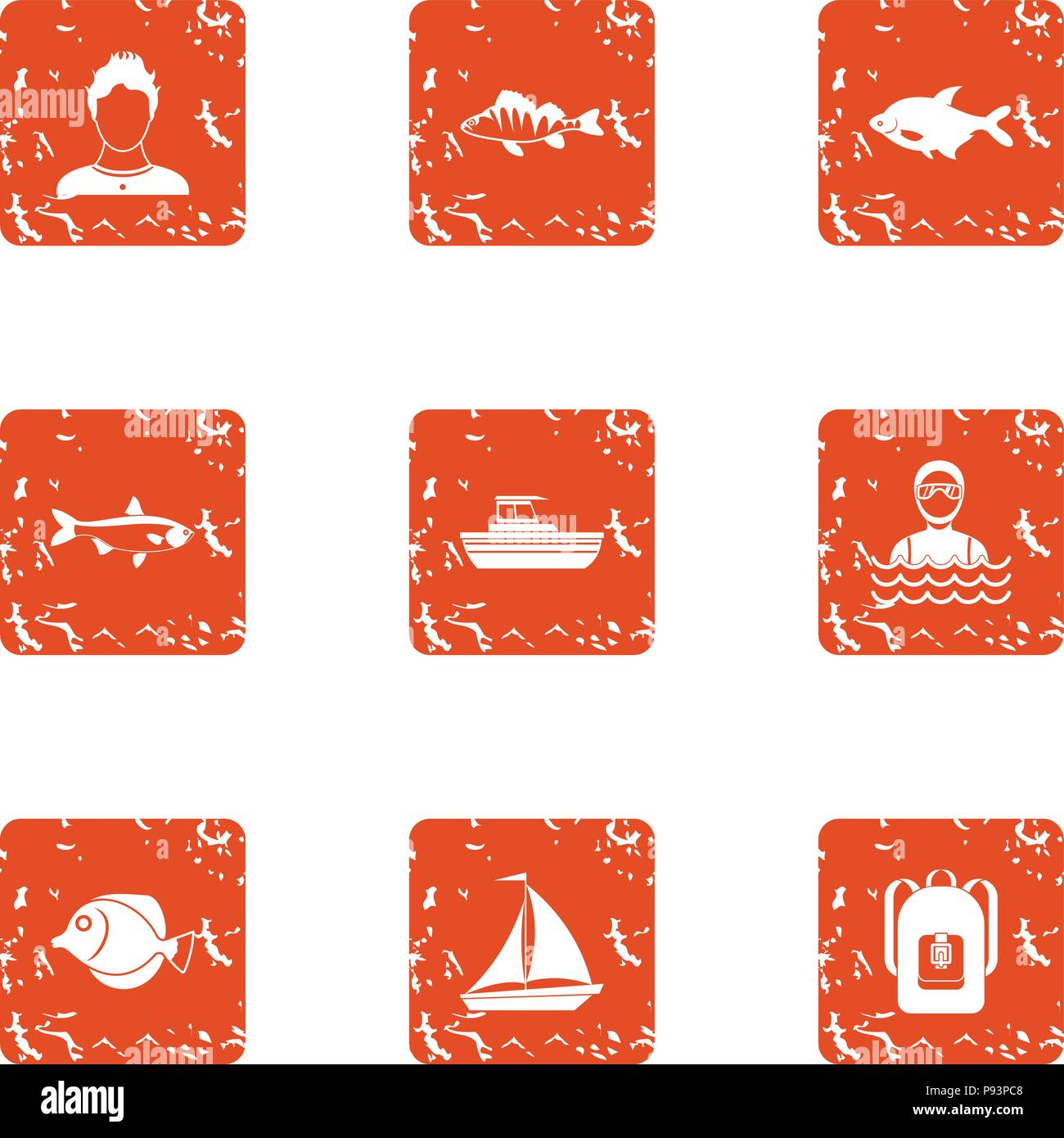 Fish spectacle icons set, grunge style - Stock Vector