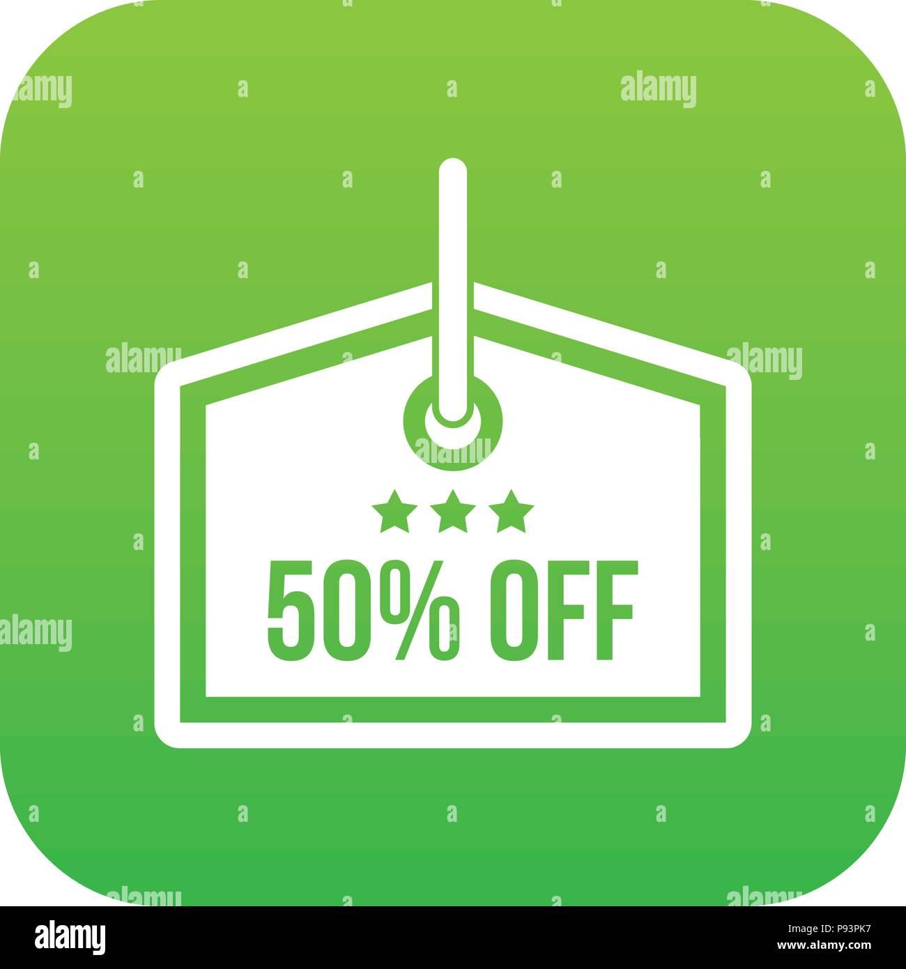 Sale tag 50 percent off icon digital green Stock Vector