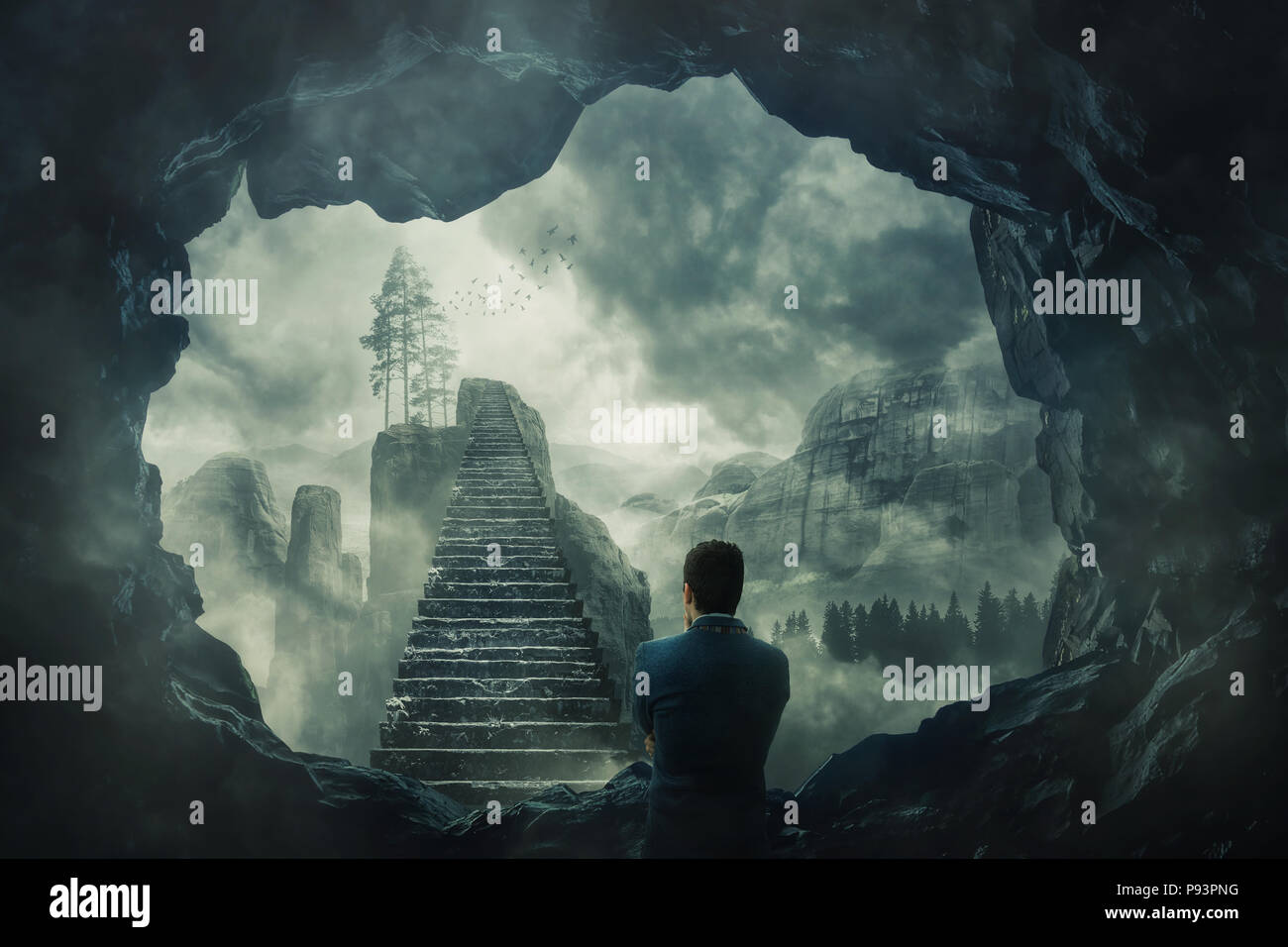 Surreal view as a man escape from a dark cave stand in front of a mystic stairway crossing the misty abyss going up to unknown paradise. Opportunity s - Stock Image