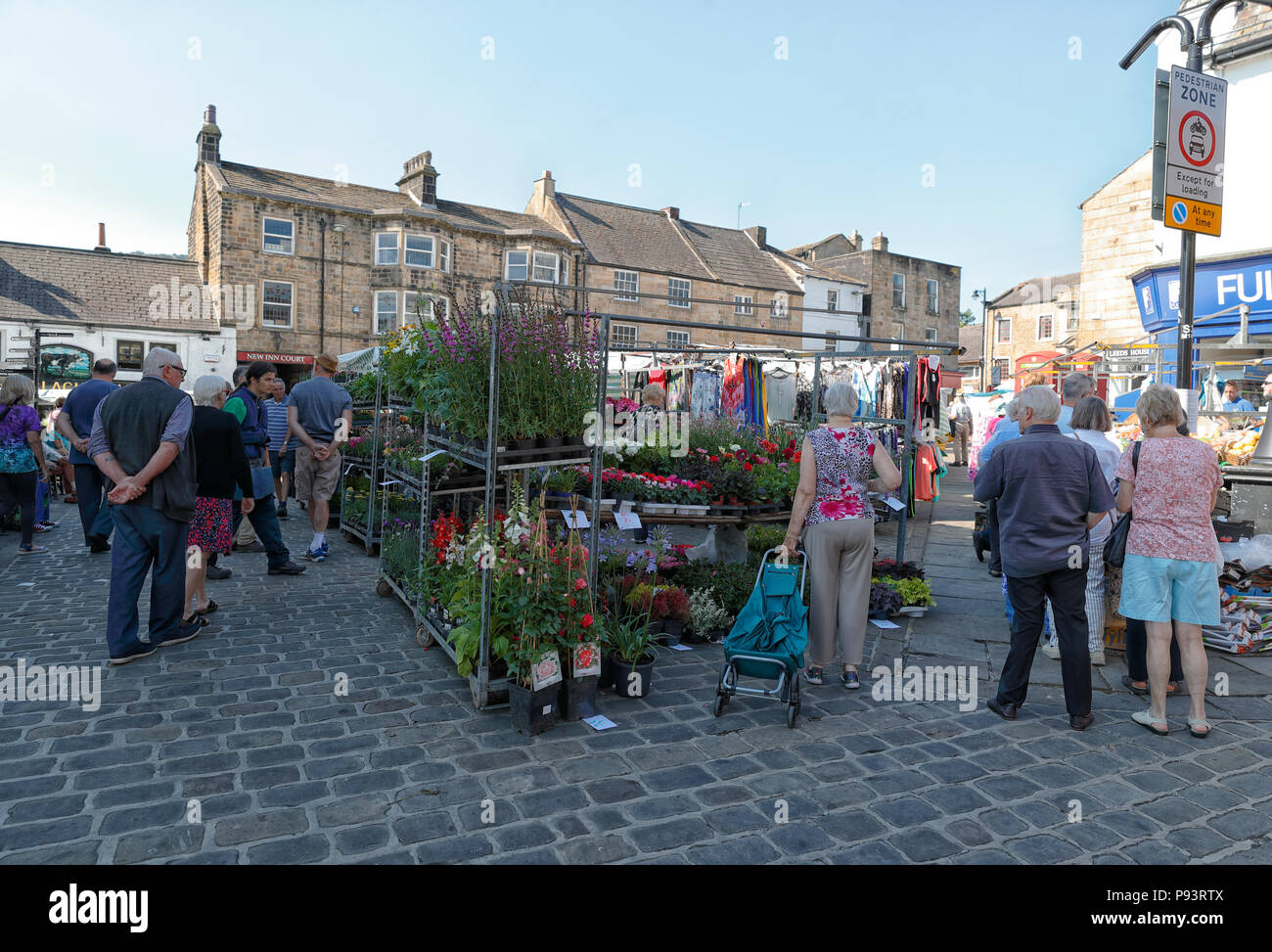 Otley Street Market held on a Tuesday, Friday and Saturday Stock Photo