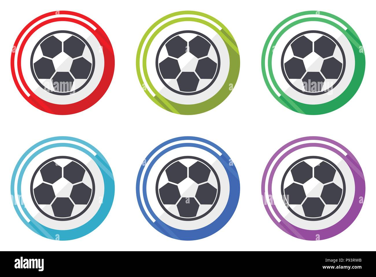 Soccer web vector icons, set of colorful flat round design editable internet buttons in eps 10 for webdesign and smartphone applicatios - Stock Vector