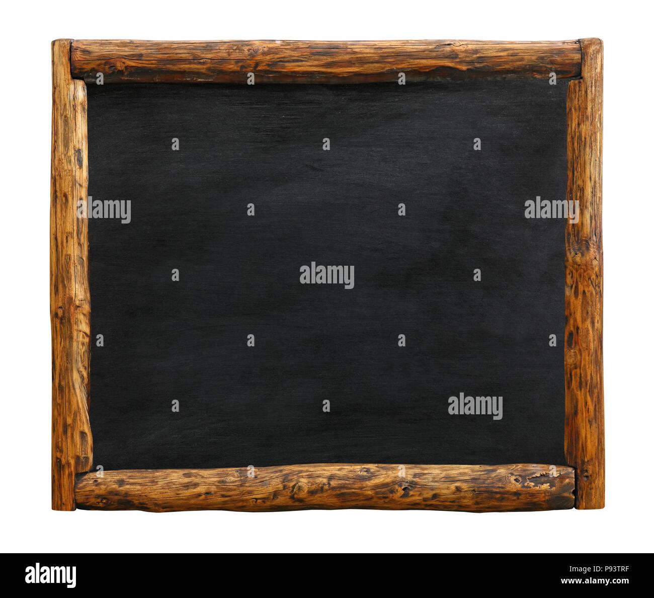 Old vintage black chalkboard empty blank sign with grunge brown aged ...