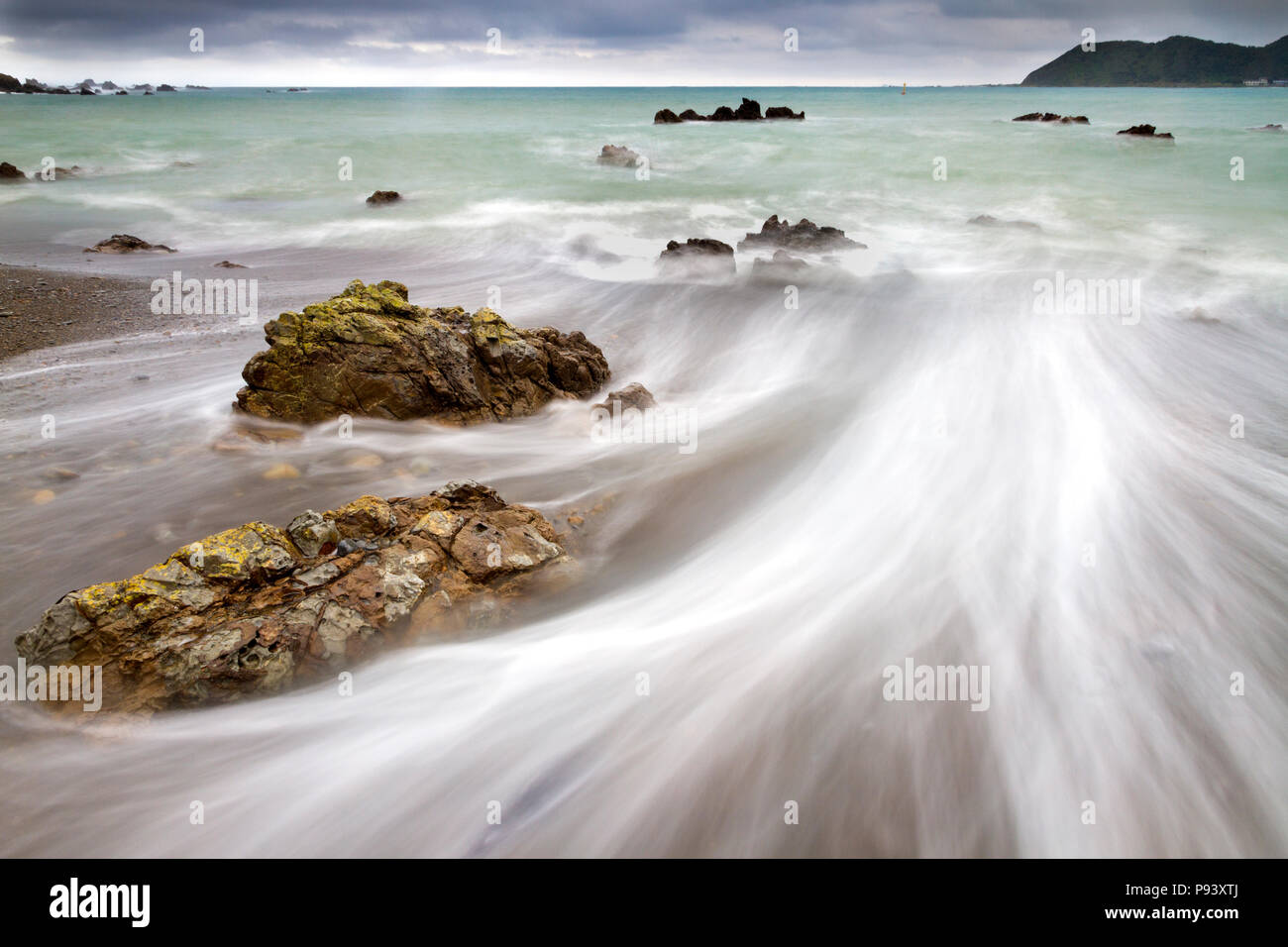 Wellington Sea scape in the dusk in New Zealand - Stock Image