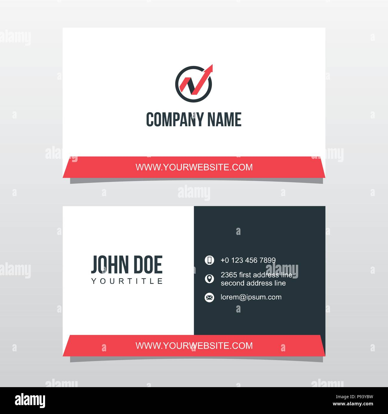 Business Card Template Double Sided Stock Vector Art Illustration