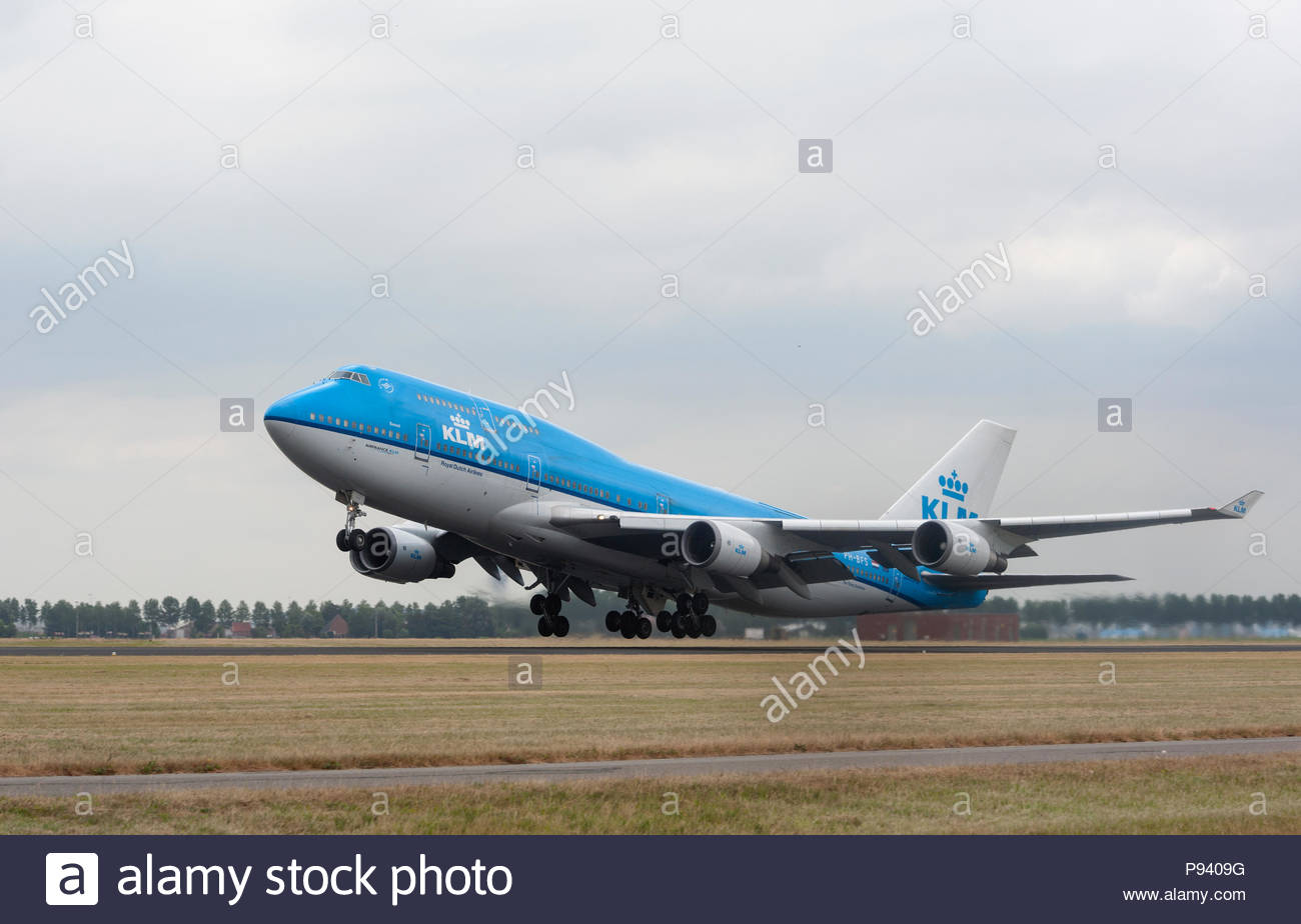 Amsterdam Schiphol Airport The Netherlands  KLM Boeing 747 PH-BFS taking off from Schiphol Airport. - Stock Image