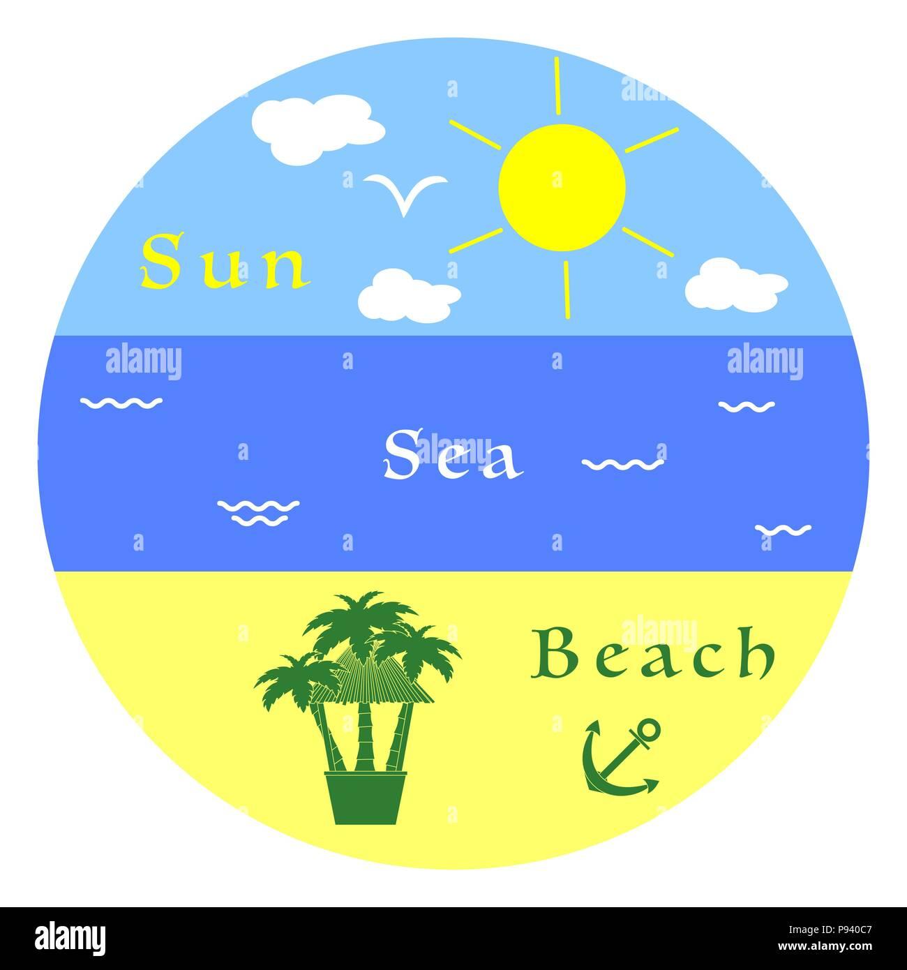 Sun, clouds, bird, sea, waves, beach, anchor, palms, bar. Summer leisure. - Stock Image
