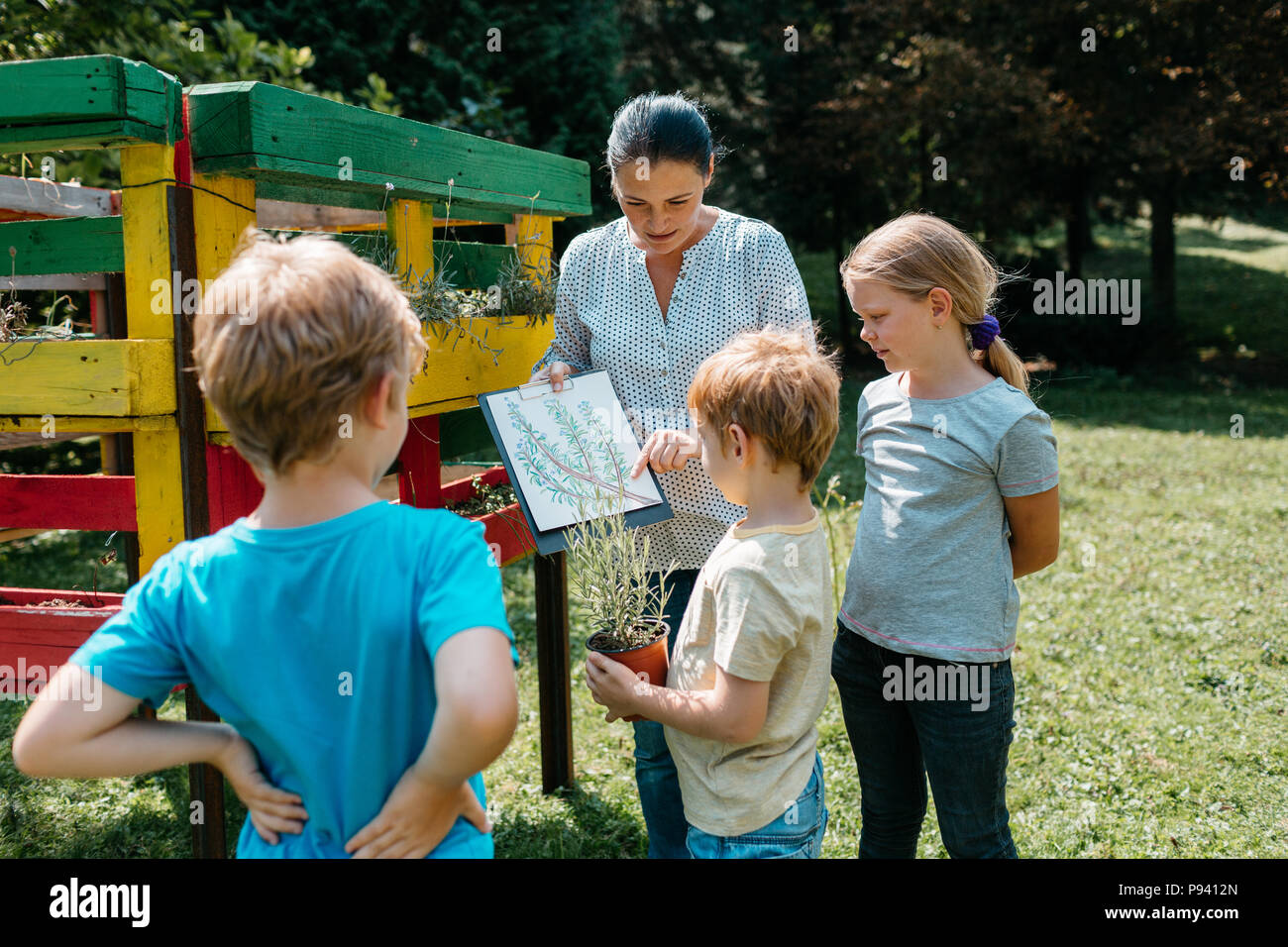 teacher talking about plants with a small group of elementary