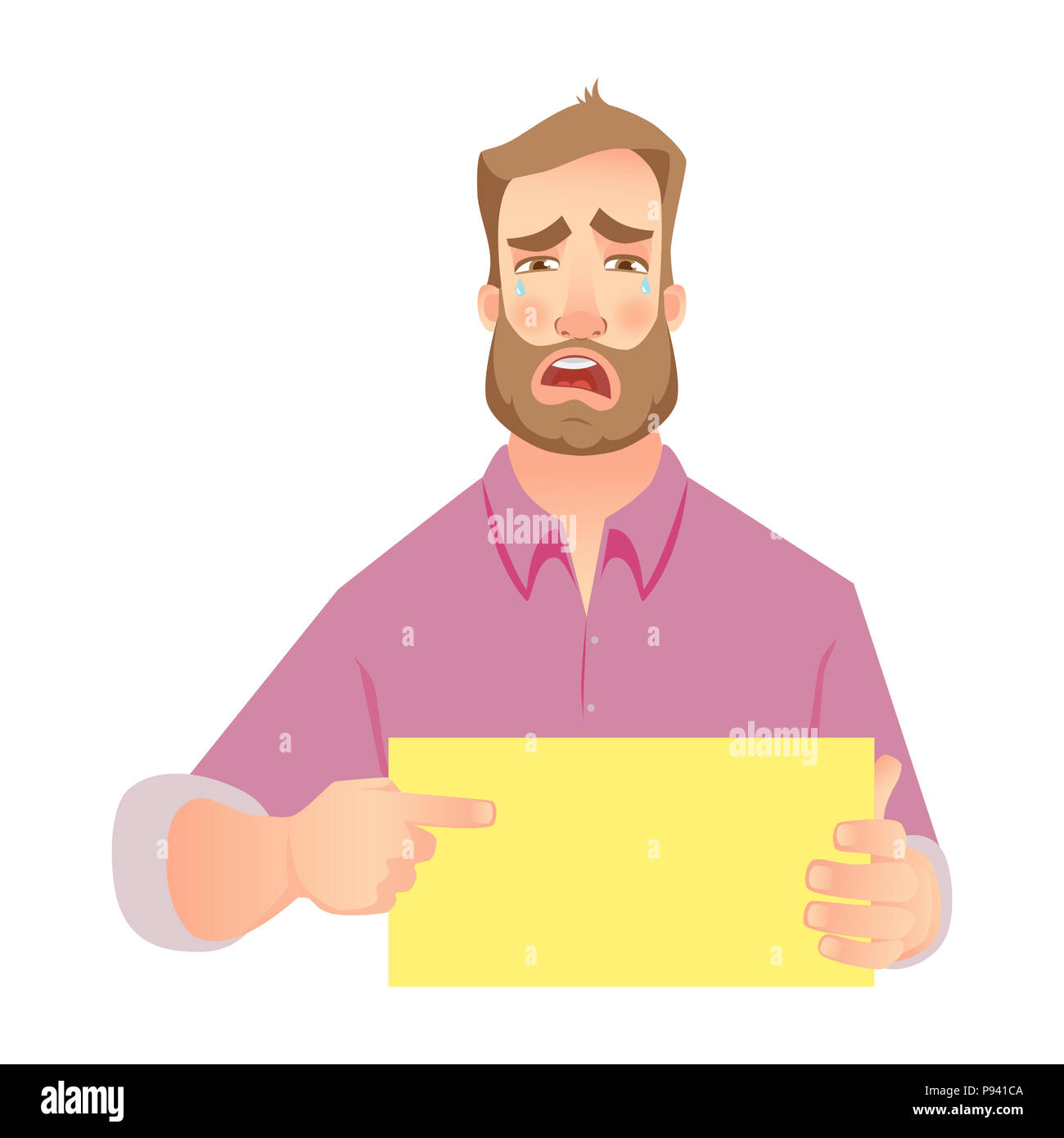 Man holding blank paper. Crying businessman points to banner.  illustration set - Stock Image