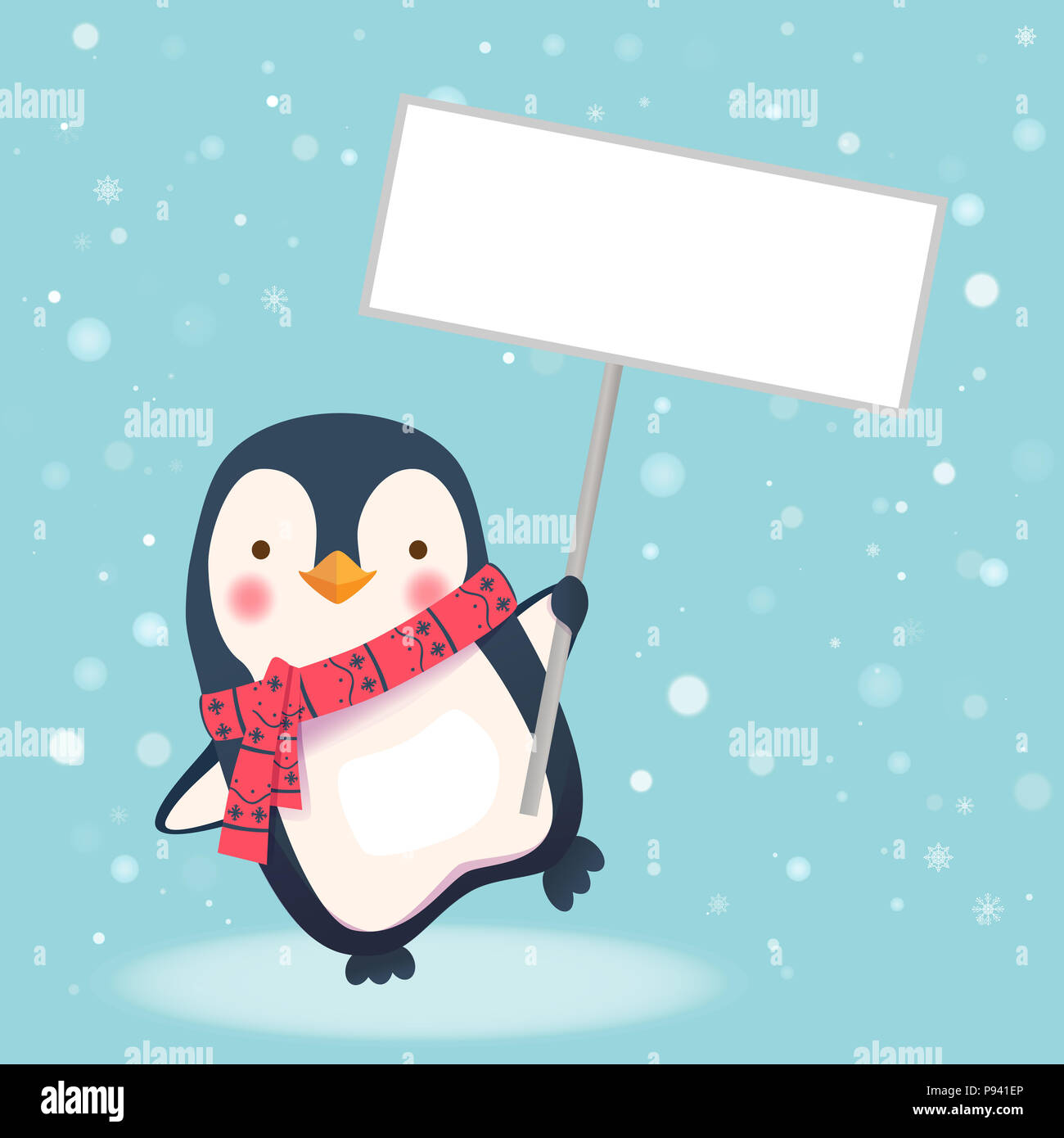 Cute Penguin With Scarf Holding Blank Sign Penguin Cartoon Illustration Stock Photo Alamy