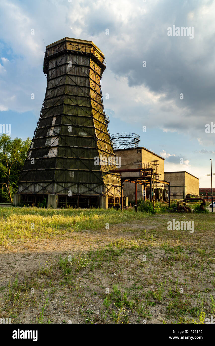 Zollverein coking plant gasometer clouds - Stock Image