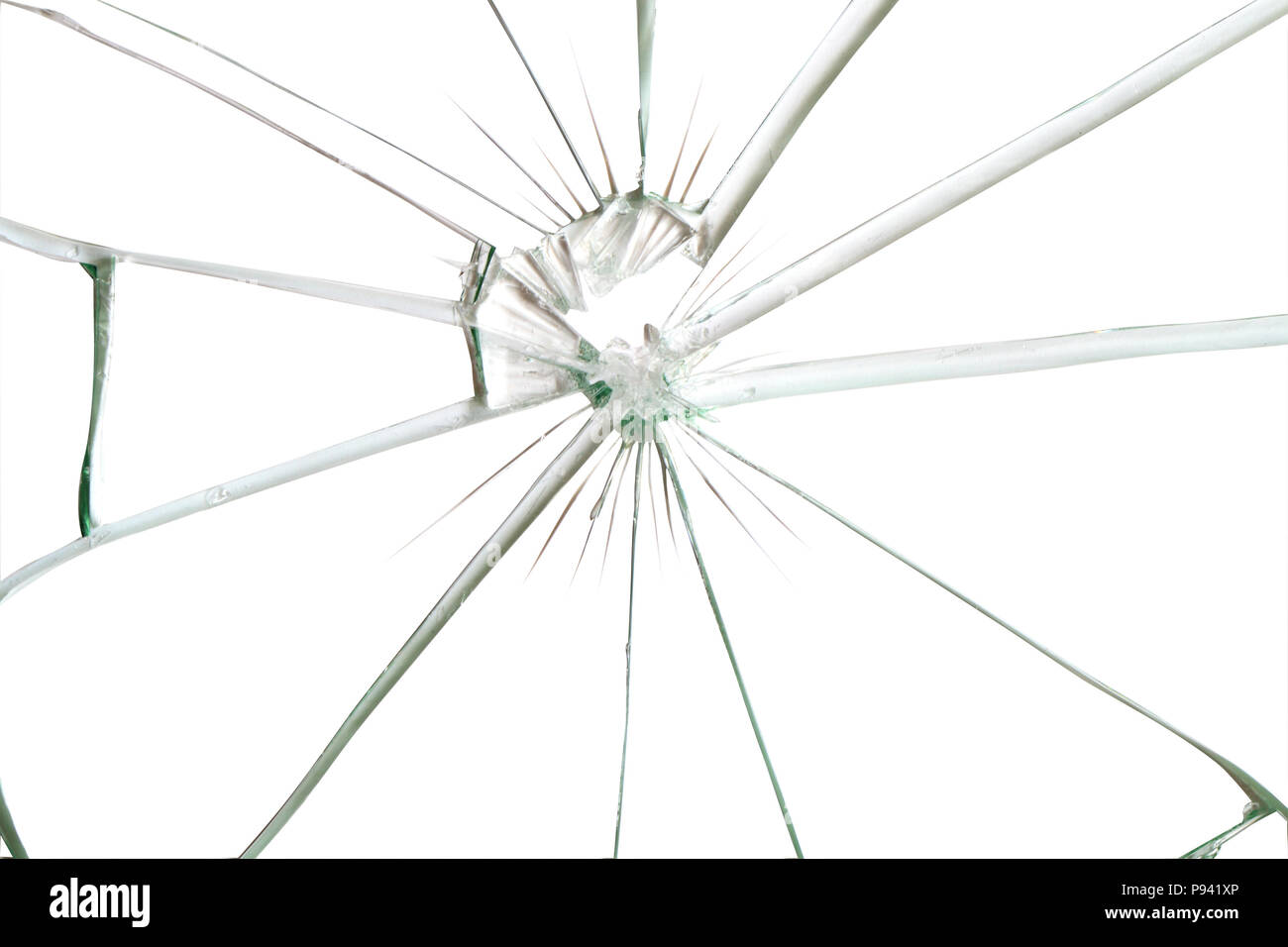 Broken glass background for your images isolated on white with clipping path - Stock Image