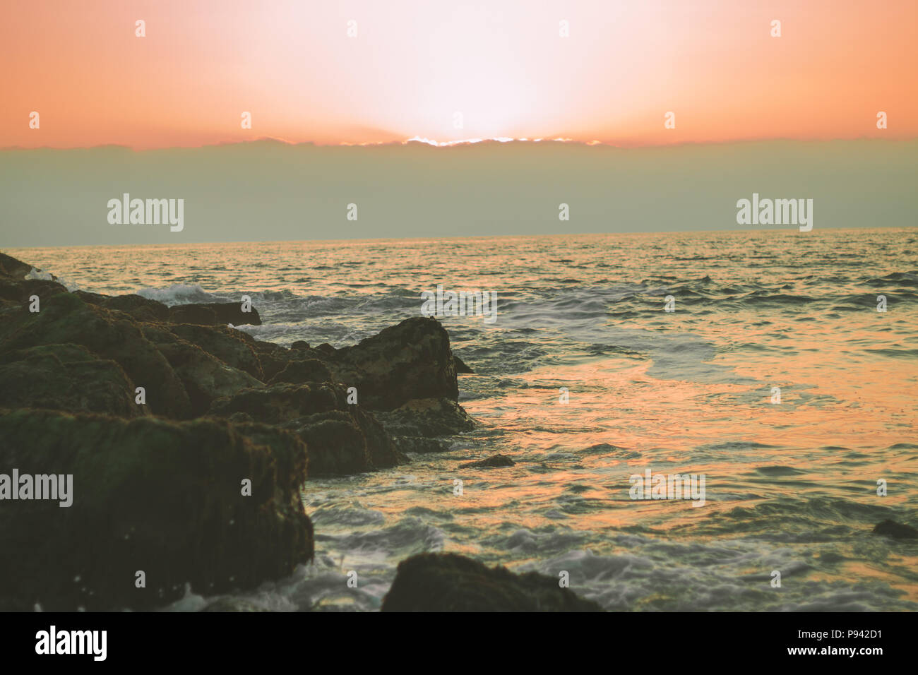 Sunset and the horizon - Stock Image