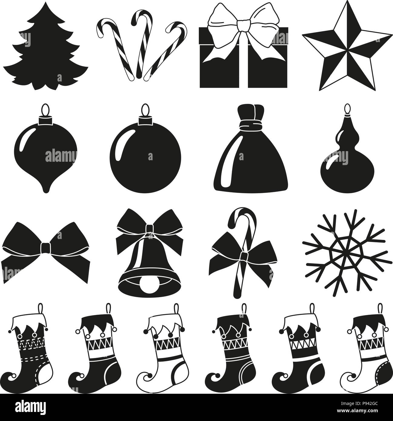 black white 18 christmas elements silhouette set new year holiday decorations vector illustration for icon logo sticker patch label badge embl