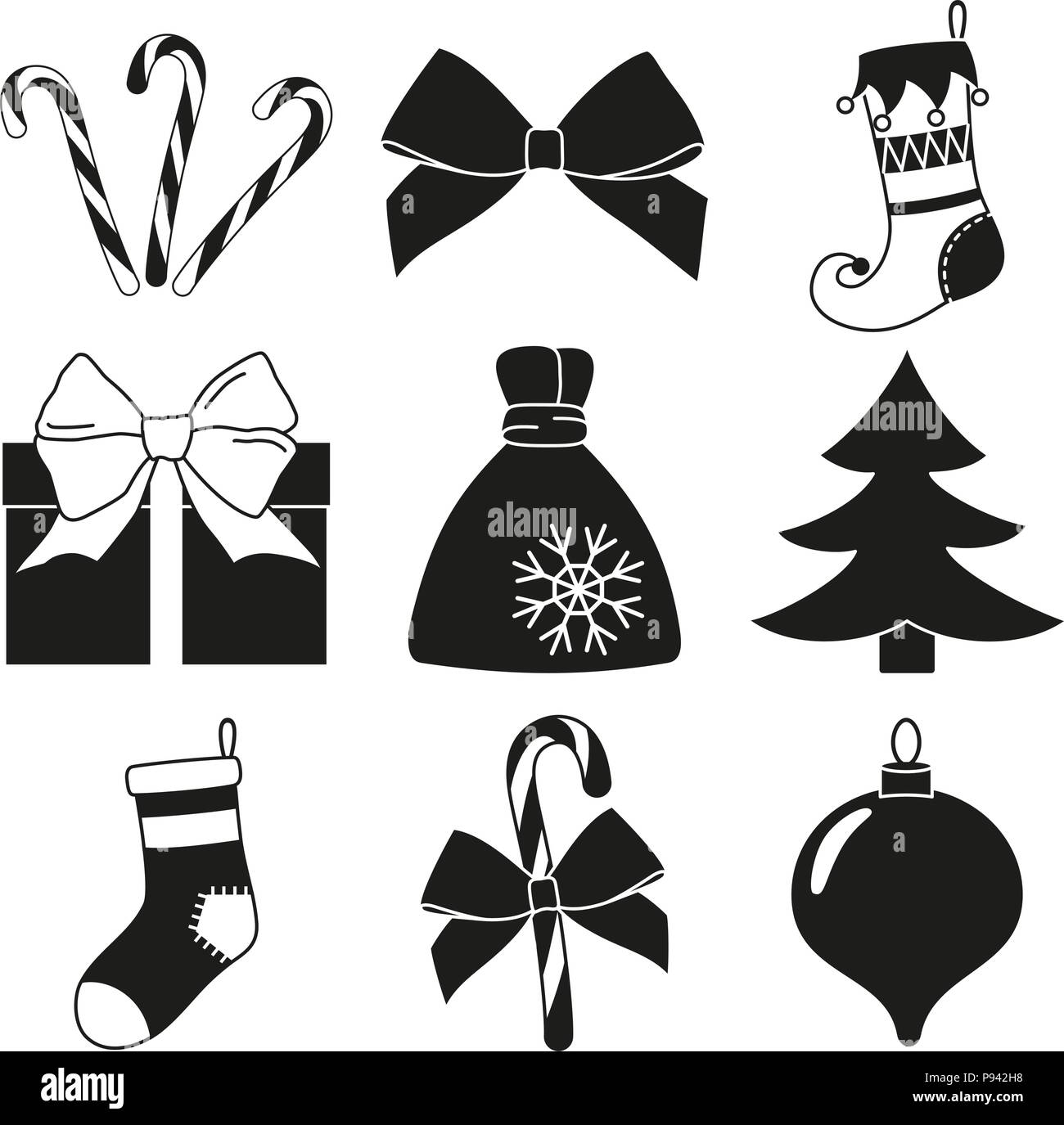 black and white 9 christmas elements silhouette set new year holiday decorations vector illustration for icon logo sticker patch label badge e