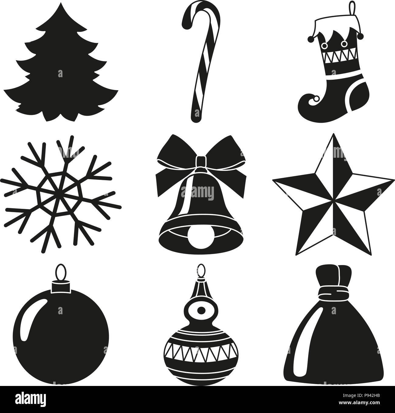 black and white 9 xmas elements silhouette set new year holiday decorations vector illustration for icon logo sticker patch label badge emblem