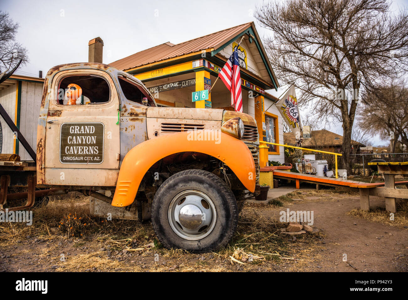 4586d9ef5343c9 Old truck left abandoned at a souvenir shop on route 66 in Arizona - Stock  Image